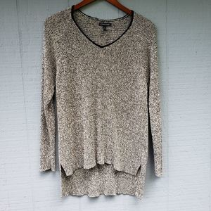 Eileen Fisher Off White Black High Low Sweater Lrg